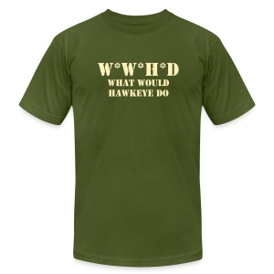 What Would Hawkeye Do - Cream on Olive - Men's Fine Jersey T-Shirt