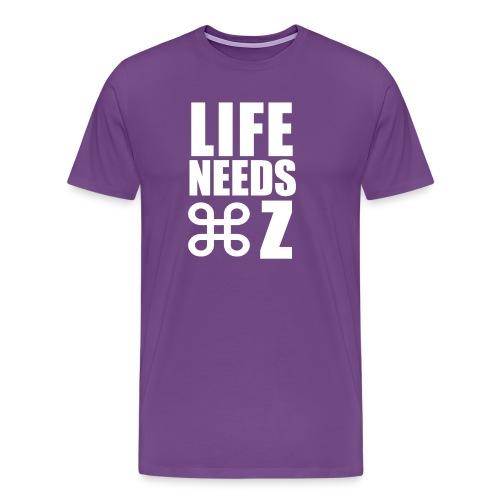 Life Needs Undo - Purple Tee - Mac Attack - Men's Premium T-Shirt