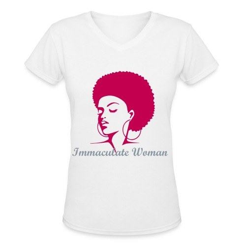 Immaculate Woman,Afro(Maroon, grey letters) - Women's V-Neck T-Shirt