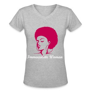 Immaculate Woman,Afro (Maroon, white letters) - Women's V-Neck T-Shirt