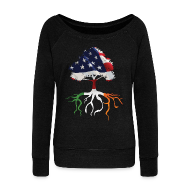 Long Sleeve Shirts ~ Women's Wideneck Sweatshirt ~ USA Irish Roots