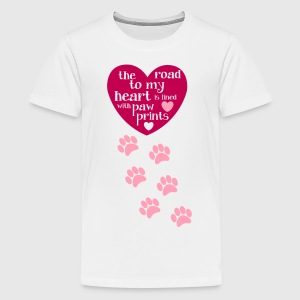 Dog Lover T shirt with paw prints and cute quote` - Kids' Premium T-Shirt
