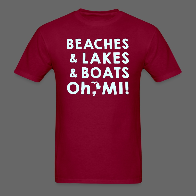 Beaches and Lakes and Boats - Oh, MI!  - Men's T-Shirt