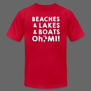 Beaches and Lakes and Boats - Oh, MI!  - Men's T-Shirt by American Apparel