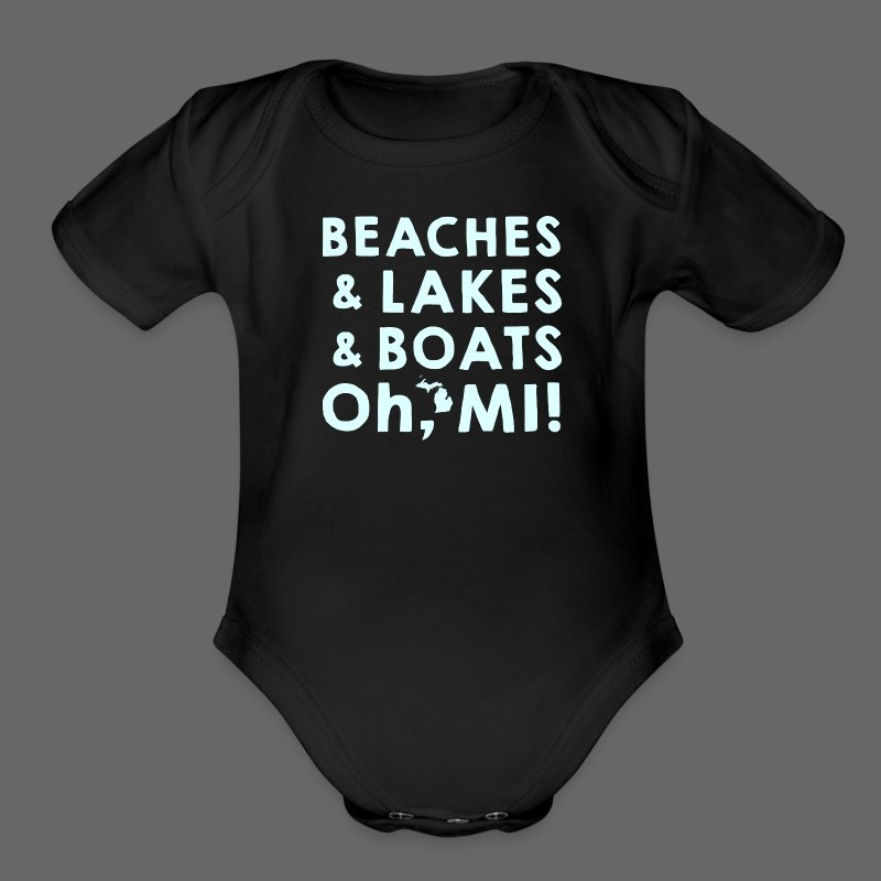 Beaches and Lakes and Boats - Oh, MI!  - Short Sleeve Baby Bodysuit