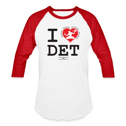 I Love Detroit 3/4 Length Sleeve Baseball T-Shirt - Baseball T-Shirt