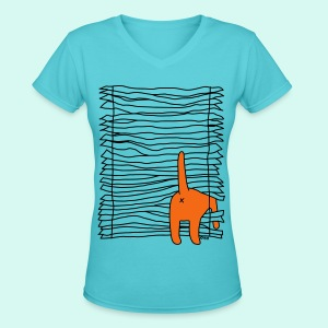 BLIND CAT - Women's V-Neck T-Shirt