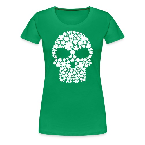 Women's Shamrock Scull - Green - Women's Premium T-Shirt