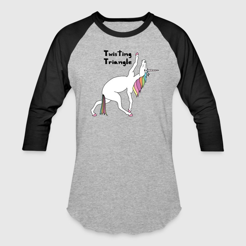 Yoga Unicorn Twisting Triangle Pose T-Shirts - Baseball T-Shirt
