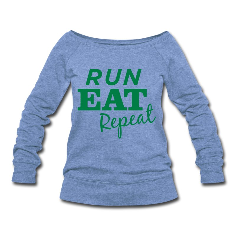 runeatrepeat_tshirtgreenlogo_1 - Women's Wideneck Sweatshirt