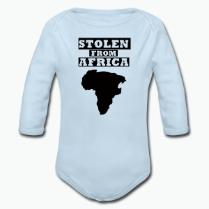 Stolen From Africa Baby Long Sleeve One Piece (Black Logo) - Long Sleeve Baby Bodysuit