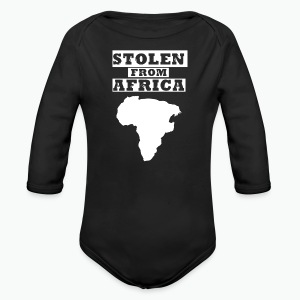 Stolen From Africa Baby Long Sleeve One Piece (White Logo) - Long Sleeve Baby Bodysuit