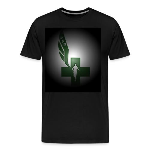 Running for Help Raised Logo Men's Black T-Shirt - Men's Premium T-Shirt