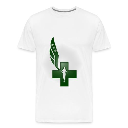 Running for Help Raised Logo Men's White T-Shirt - Men's Premium T-Shirt