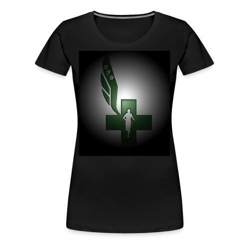 Running for Help Raised Logo Women's Black T-Shirt - Women's Premium T-Shirt