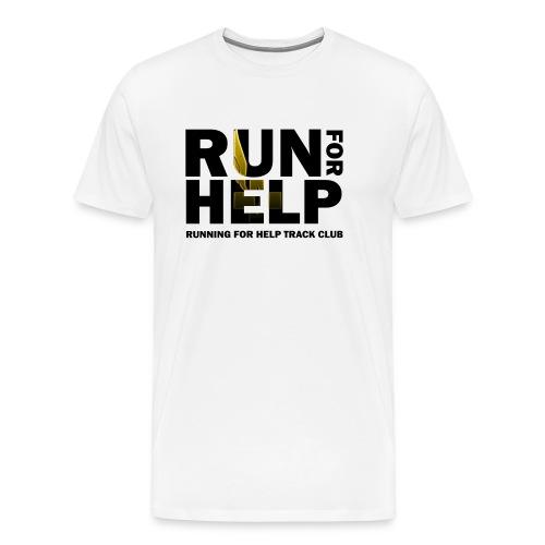 Running for Help Block Letters Men's White T-Shirt - Men's Premium T-Shirt