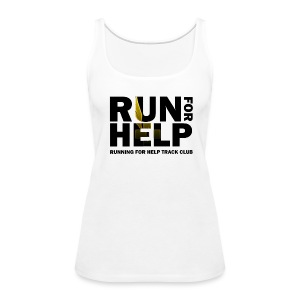 Running for Help Block Letters Women's White Tank Top - Women's Premium Tank Top