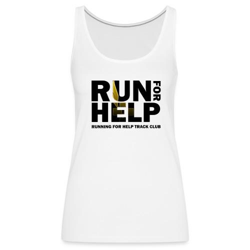 Running for Help Block Letters Women's White Tank Top - Women's Premium Tank Top