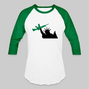 Men's Liberty Long Sleeve, Green - Baseball T-Shirt