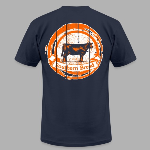 Men's Orange and Blue Cow/Saturdays at the Barn - Men's Fine Jersey T-Shirt