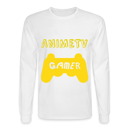 Official AnimeTV Gamer Long Sleeve T-Shirt - White & Gold - Men's Long Sleeve T-Shirt