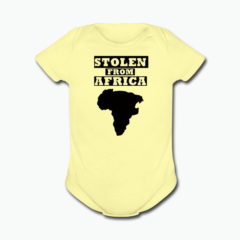 Stolen From Africa Baby Long Sleeve One Piece (Black Logo) - Short Sleeve Baby Bodysuit