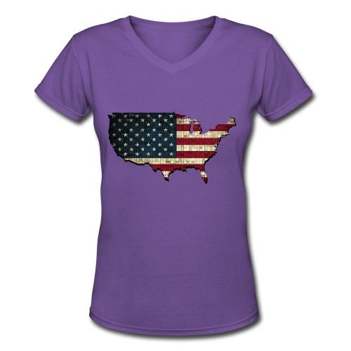 United States (USA) Pride V-Neck - Women's V-Neck T-Shirt