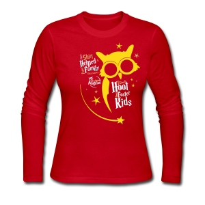 I Give a Hoot - Women's Long Sleeve Shirt Red/Gold - Women's Long Sleeve Jersey T-Shirt