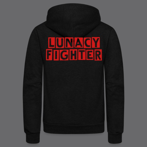 Lunacy Fighter Zipper Hoodie (Red Text) - Unisex Fleece Zip Hoodie
