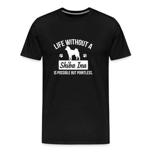 Men's life without a shiba inu (white logo) - Men's Premium T-Shirt