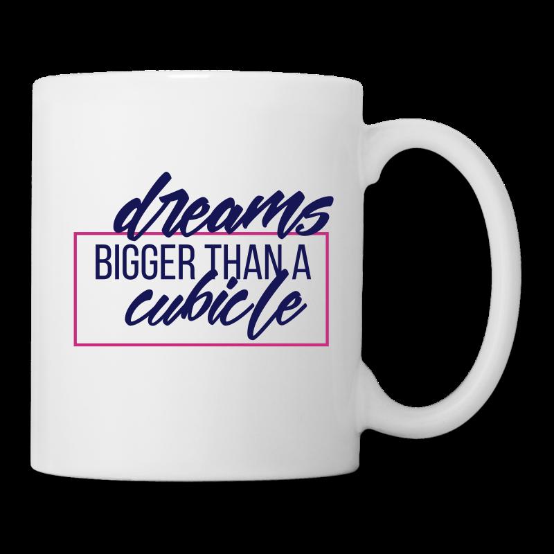Dreams bigger than Mug (Navy/White/Pink)   - Coffee/Tea Mug