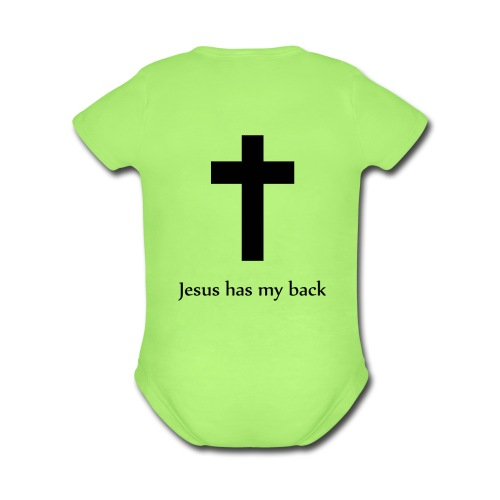 Jesus Has my Back   - Organic Short Sleeve Baby Bodysuit
