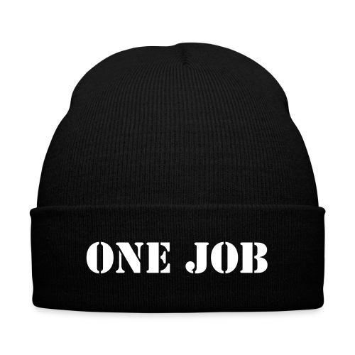 ONE JOB Beanie - Knit Cap with Cuff Print