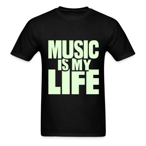 Music Is My Life (Glow In The Dark) Black T-Shirt Mens - Men's T-Shirt