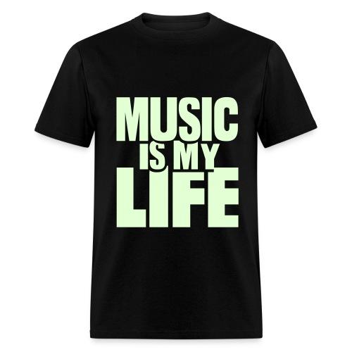 Music Is My Life (Glow In The Dark) Black T-Shirt Mens - Men's T-Shirt