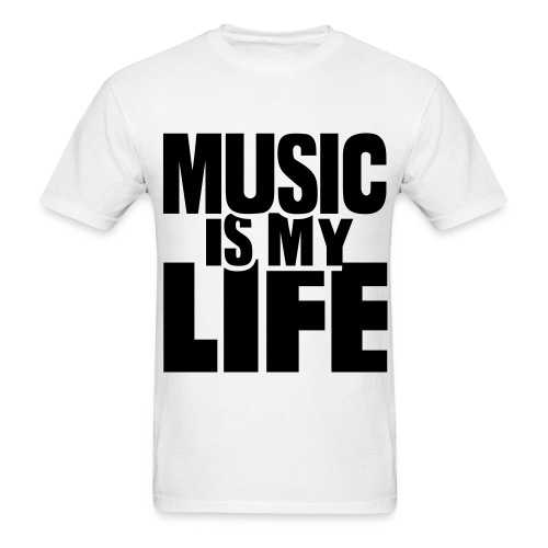 Music Is My Life White T-Shirt Mens - Men's T-Shirt
