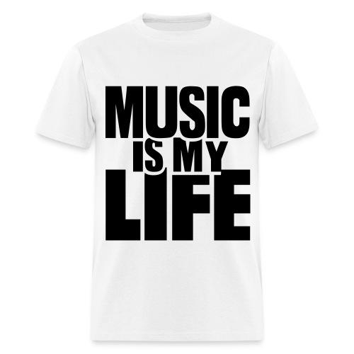 Music Is My Life White T-Shirt Mens - Men's T-Shirt