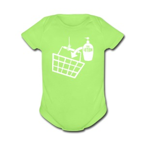It puts the Lotion in the Basket shirt - Short Sleeve Baby Bodysuit