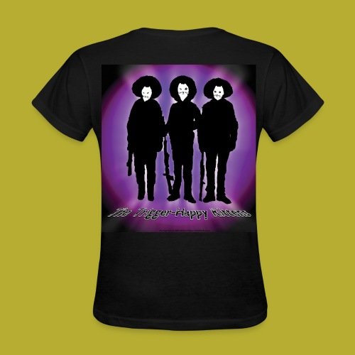 THK - Bandidos B&W & Purple Hybrid Silhouette Logo - Women's T-Shirt - BACK - Women's T-Shirt