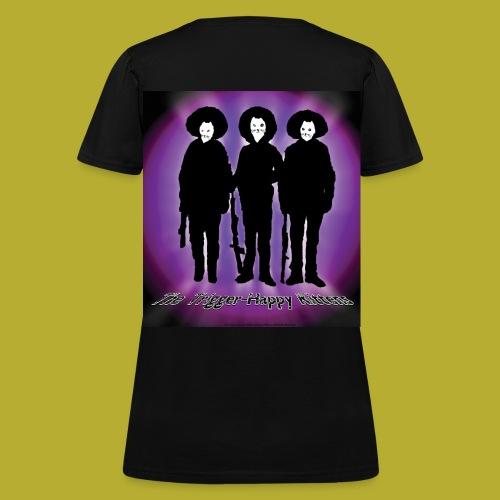 THK - Bandidos B&W & Purple Hybrid Silhouette Logo - Women's T-Shirt - BACK - Women's T-Shirt
