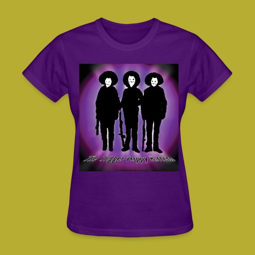 THK - Bandidos B&W & Purple Hybrid Silhouette Logo - Women's T-Shirt - FRONT - Women's T-Shirt