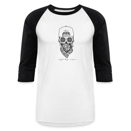 Black Skull Raglan Shirt - Baseball T-Shirt