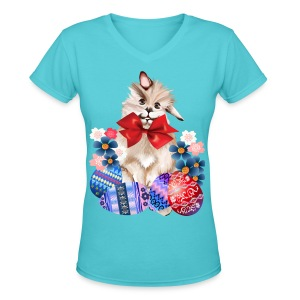 EASTER BUNNY-EGGS n' FLOWERS - Women's V-Neck T-Shirt