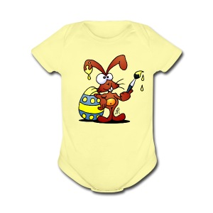 The Easter Bunny is painting an Easter egg - Short Sleeve Baby Bodysuit