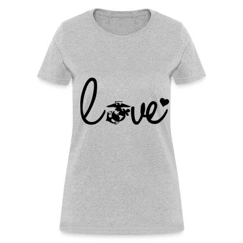 Women T-Shirt Marines Love Logo Black - Women's T-Shirt