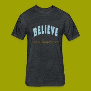 Believe-ShortSlv - Fitted Cotton/Poly T-Shirt by Next Level