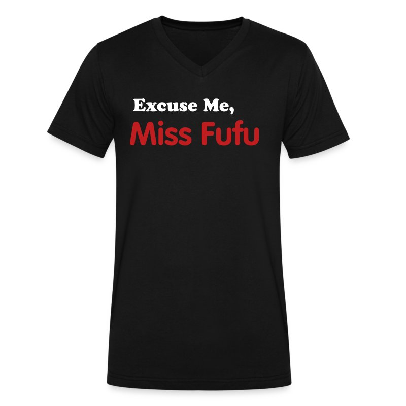 Mens-Vneck Tee - Black -Excuse Me Miss Fufu - White/Red Velvet - Men's V-Neck T-Shirt by Canvas