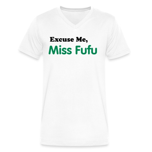 Mens-Vneck Tee - White -Excuse Me Miss Fufu - Black/Green Velvet - Men's V-Neck T-Shirt by Canvas