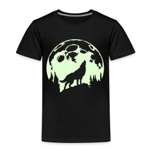 Glow-In-The-Dark Wolf Howling at the Moon - Toddler Premium T-Shirt
