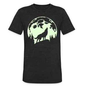 Glow-In-The-Dark Wolf Howling at the Moon - Unisex Tri-Blend T-Shirt